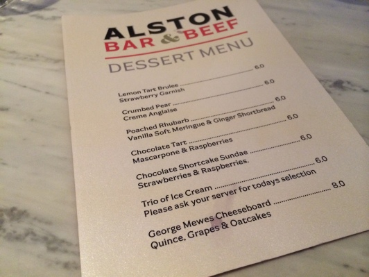 Alston Bar & Beef dessert menu