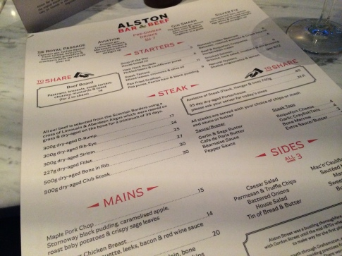 Alston Bar & Beef Menu