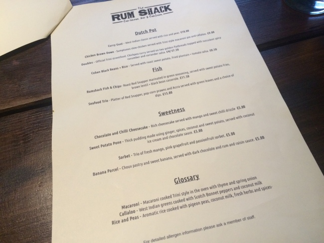 Dessert menu The Rum Shack April 2015