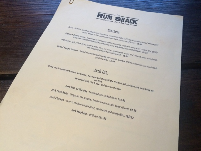Menu The Rum Shack April 2015