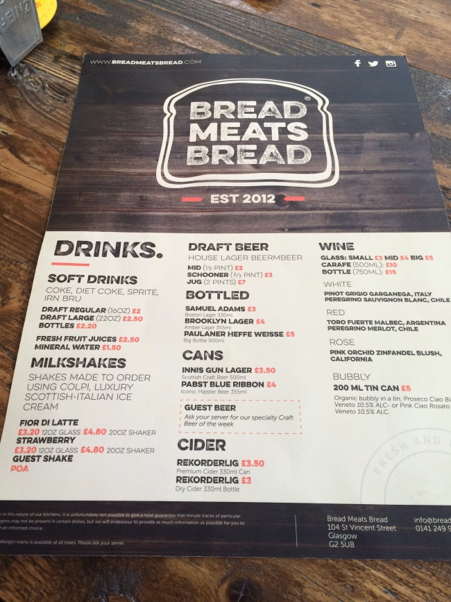 New Drinks Menu Bread Meats Bread April 2015
