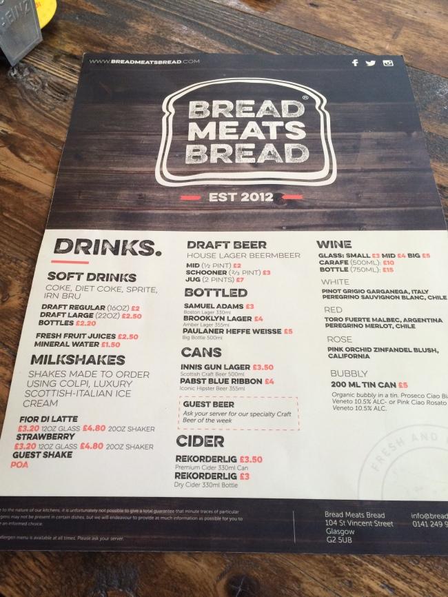 New Drinks Menu Bread Meats Bread April 2015