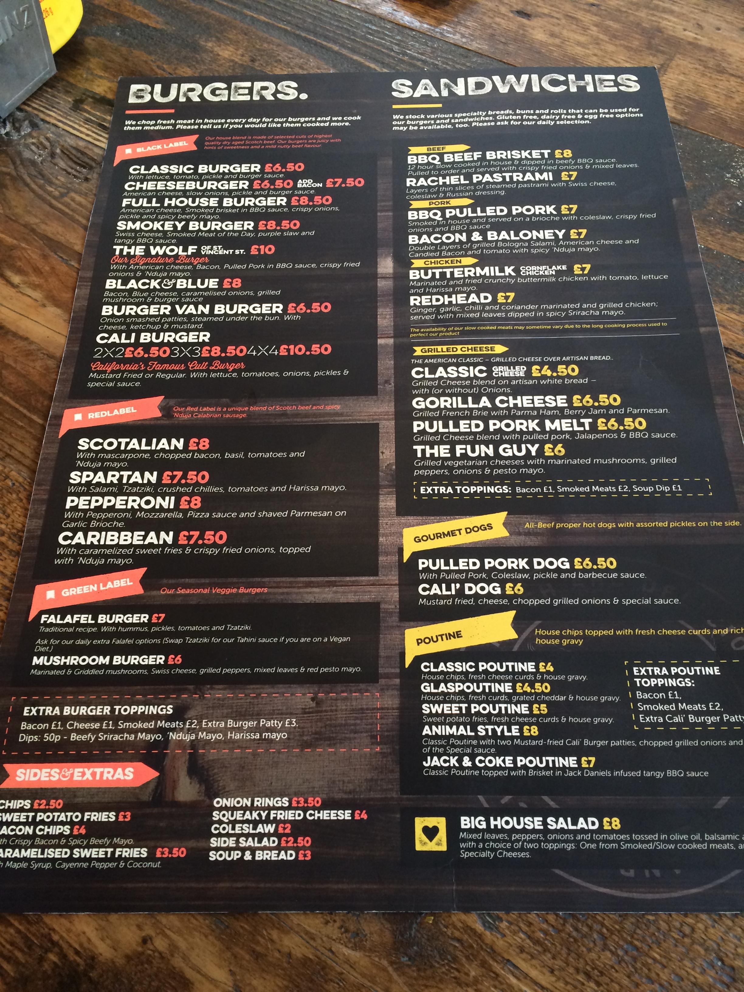 Cali Restaurant Menu